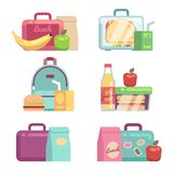Kids snacks. School lunch boxes vector set. Container with dinner, lunchbox and lunchtime illustration Stock Images