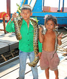 Kids with Snake Stock Images