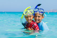 Kids snorkeling Stock Photography