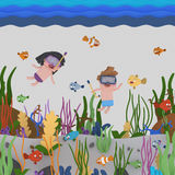 Kids snorkeling under water Royalty Free Stock Images