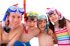 Kids with snorkels Stock Image