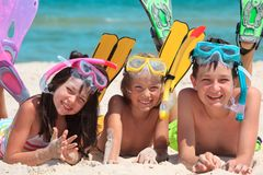 Kids with snorkels Royalty Free Stock Photography