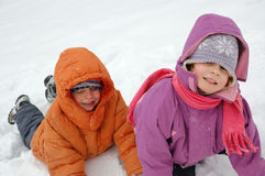 Kids in snow Stock Photo