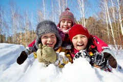 Kids in snow Stock Photos