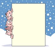Kids, snow and banner royalty free illustration