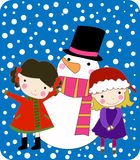 Kids with Snowman Royalty Free Stock Photography
