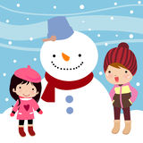 Kids with Snowman Stock Photo