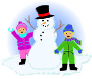 Kids with Snowman. Crayon-type illustration of two children playing outside with a snowman in winter Royalty Free Stock Photos