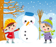 Kids and snowman Stock Image