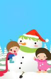 kids and snowman Royalty Free Stock Image