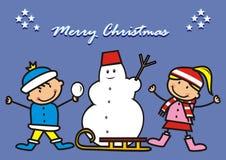 Kids and snowman, christmas postcard Royalty Free Stock Photo