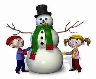 Kids with Snowman - with clipping path. 3D render of a cartoon boy and girl with a snowman Royalty Free Stock Images