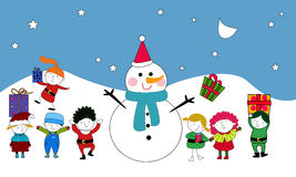 Kids and Snowman Royalty Free Stock Photography