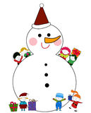 Kids and Snowman Stock Photos