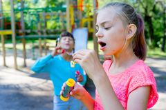 Kids with soap bubbles Royalty Free Stock Photography