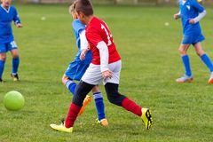 Kids soccer football - children players match on soccer field stock image