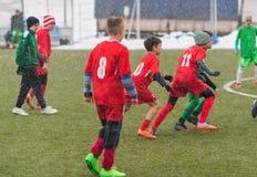 Kids soccer football tournament - children players match on socc Royalty Free Stock Image