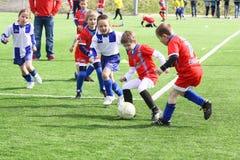 Kids soccer match. Rozna vs. Zdar nad Sazavou in Czech republic. April 17 2011. Winner is Rozna royalty free stock photography