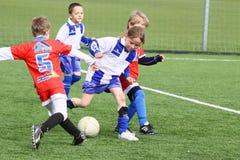 Kids soccer match. Rozna vs. Zdar nad Sazavou in Czech republic. April 17 2011. Winner is Rozna stock photo
