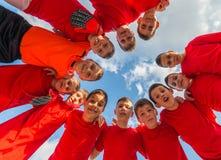 Kids soccer team stock photo