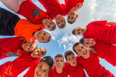 Kids soccer team royalty free stock images