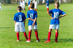 Kids soccer waiting royalty free stock photography