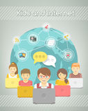 Kids Social Networking on the Internet of Group with Computers Stock Photography