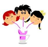 3 kids on a soda float Stock Photos