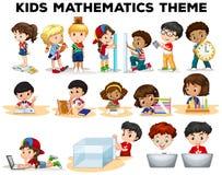 Kids solving math problems vector illustration