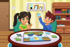 Kids Solving Puzzles. A vector illustration of happy kids solving puzzles together royalty free illustration