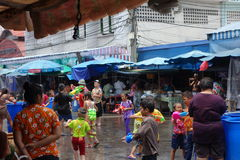 Kids on Songkran`s Day in Thailand. Many kids threw water to each other on Songkran festival in Thailand Royalty Free Stock Photos