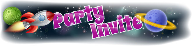 Kids Space Party Invite royalty free illustration