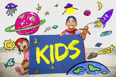 Kids Space Rocket Planet Graphic Concept Royalty Free Stock Photos