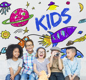 Kids Space Rocket Planet Graphic Concept Royalty Free Stock Image