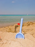 Kids Spade On Idyllic Beach Stock Images