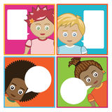 Kids with speech bubbles Stock Photos