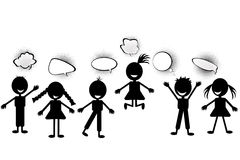 Kids with speech bubbles Royalty Free Stock Photography