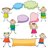 Kids with speech bubbles. And sheet paper stock illustration