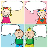Kids with speech bubbles. Four kids with speech bubbles stock illustration