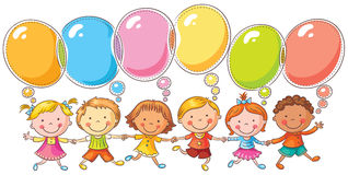 Kids with Speech Bubbles. Happy kids with speech bubbles with copy space, no gradients, isolated on white royalty free illustration