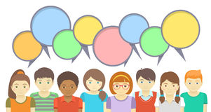 Kids with speech bubbles Stock Images