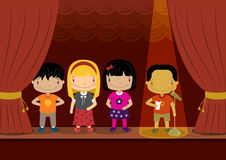 Kids Speech Contest. Young children taking part in a speech contest on stage Stock Image