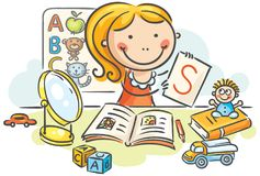 A kids speech therapist with toys, books, letters, mirror. A kids speech therapist with toys, books, letters and a mirror stock illustration