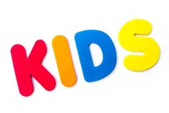 The word KIDS. KIDS spelt out with coloured letters Stock Images