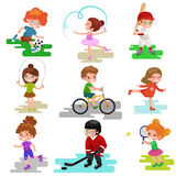 Kids sport,  boy and girl playing active games vector Royalty Free Stock Photos