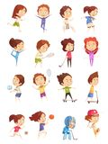 Kids Sport Decorative Icons Set. With colored cartoon figurines of cute children who are engaged in various sports flat isolated vector illustration Royalty Free Stock Photos