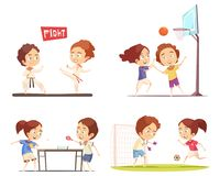 Kids Sport 2x2 Design Concept. Kids sport 2x2 flat design concept with funny children playing table tennis football basketball and engaged in karate vector Stock Photo