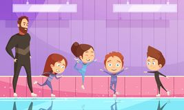 Kids On Figure Skating Training. Kids sport flat vector illustration with cartoon characters training on stadium with their instructor at figure skating Royalty Free Stock Photos