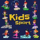Kids sport, isolated boy and girl playing active games vector Royalty Free Stock Photos