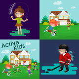 Kids sport, isolated boy and girl playing active games vector Stock Photo